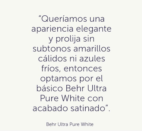 """We wanted a clean and classy look without any warm yellow or cool blue undertones, so we went with the basic Behr Ultra Pure White in a satin finish. "" - Behr Ultra Pure White"