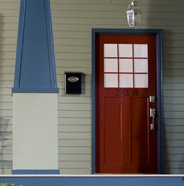 Photo of exterior door, pillar, trim, siding.