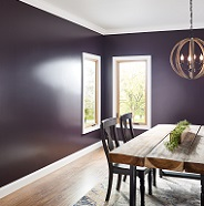 Dining room painted in satin sheen.