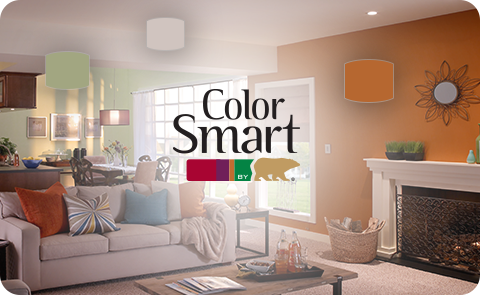 Color Smart by Behr text with an orange room with couch in the background