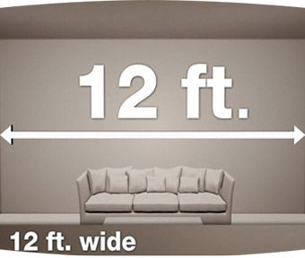 3D designed couch in a 12 foot long room